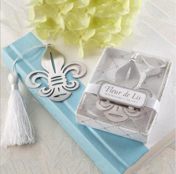 Favore del segnalibro del metallo di Fleur-de-Lis di Wholeslale 100pcs / Lot + con il presente dell'omaggio del partito della cerimonia nuziale di Bianco-Seta di seta elegante + TRASPORTO LIBERO.
