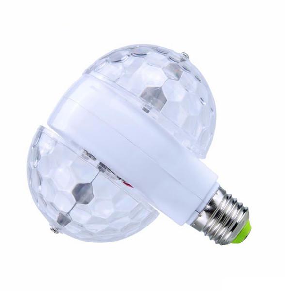 E27 85-265V LED Bulb RGB 6W Auto Rotating Crystal Stage Light Magic Double Balls DJ Party Disco Effect Lamp