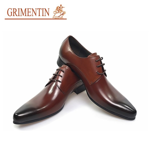 GRIMENTIN Hot sale Italian Fashion formal mens dress shoes genuine leather brown wedding male shoes Oxfords large size 11:large size 46 OX10
