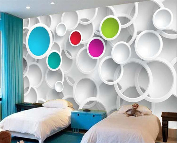 top popular Modern 3D Wallpaper Personalized custom Photo wallpaper Colorful Circles Wall Mural Room decor Living Room Bedroom Home decoration Free ship 2021