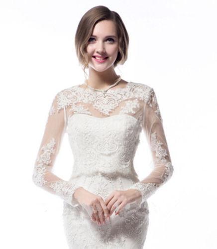 Fashion White Ivory Handmade Round Neck Hot Sale Sexy Long Sleeves Lace Wedding Bridal Bolero Jacket Shawl Custom
