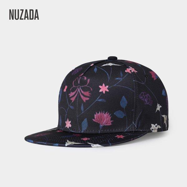 NUZADA new Korean outdoor men's Hat Ladies flat flat baseball cap Flower Print Cotton hat wholesale