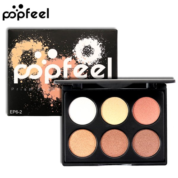 POPFEEL Brand Powder Makeup Pigments Shimmer Powder Eyeshadow Palette 6Colors Waterproof Minerals Glitter Eye Shadow Make Up Kit