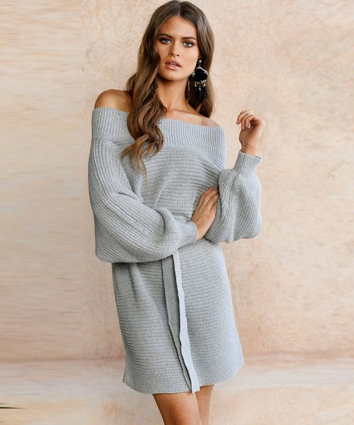 e77d94291e Women fashion long sweaters dresses ladies loose off-shoulder sexy batwing sleeve  knitted sweater and