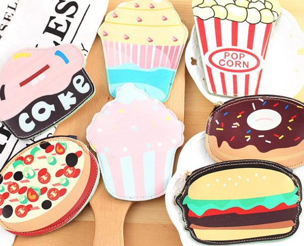 2018 new fashion South Korean creative hamburger personality bag, student cute cartoon zero wallet strange key