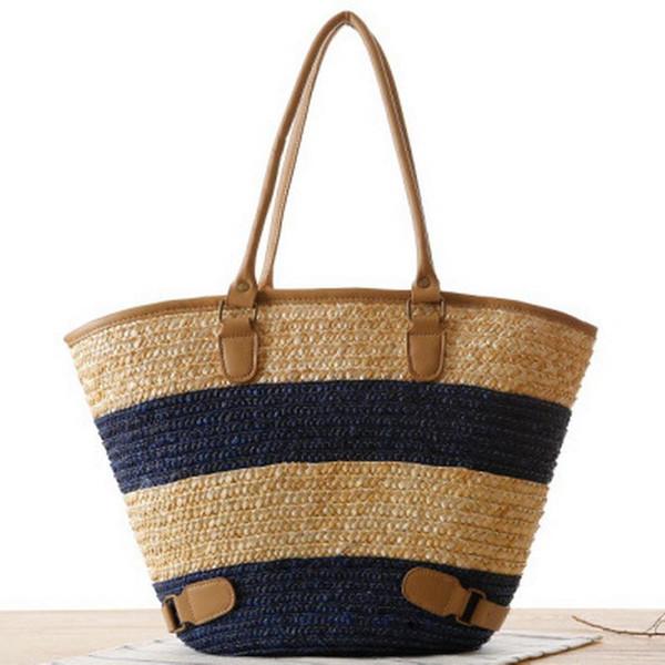 Al por mayor-2016 mujeres a rayas del bolso del totalizador en la señora europea Straw Patchhwork bolso de hombro bolsa de playa Tote Hobos para vacaciones Bolsa Feminia
