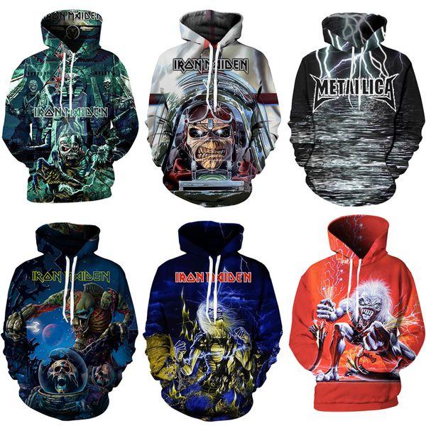 Hoodie Hoodies 3D Iron Maiden Pullover Heißer Verkauf Langarm Hoody Sweatshirt Männer Frauen Paare Top Streetwear S-5XL Jumper 11 Styles