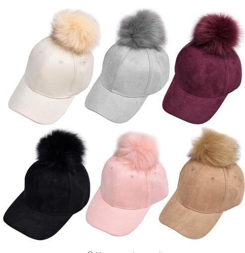 halloween new suede baseball cap artificial deer ball adjustable baseball cap candy color winter autumn fur cap