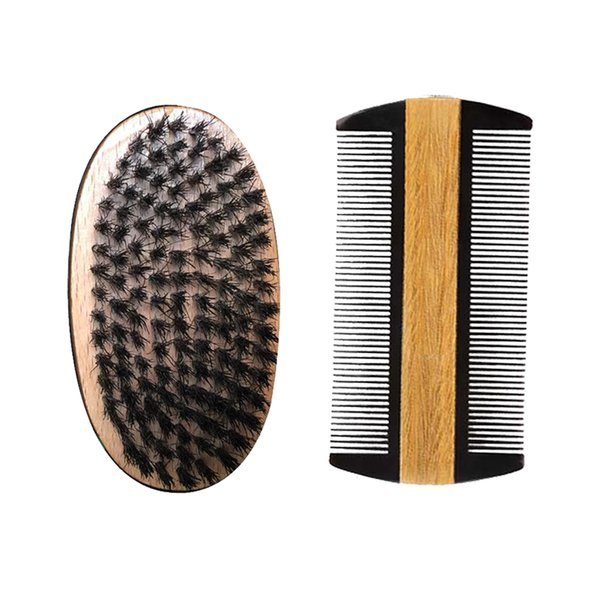 Beard & Mustache Brush and Comb Kit Wholesale Supplier , Styling & Shaping Dual Action SandalWood Comb Boar Bristle Hair Brush Dropshipping