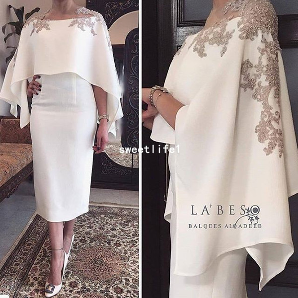 2018 New White Satin Cocktail Dresses With Wrap Appliques Tea Length Sheath Dubai Style Formal Occasion Party Gown Custom Made