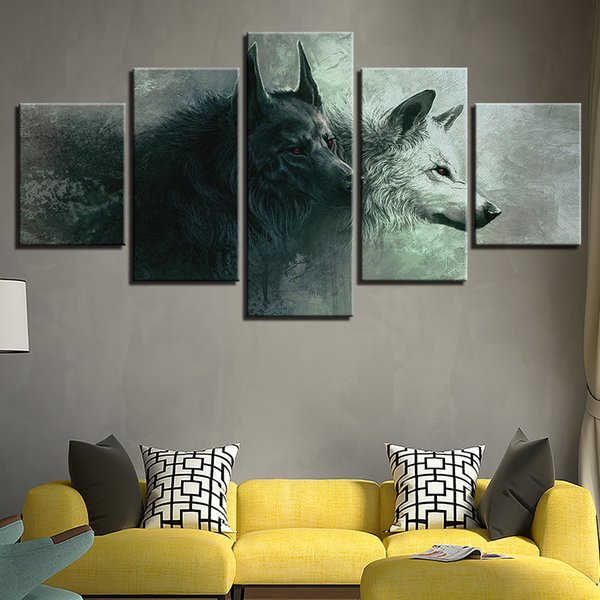 Painting Wall Art Modular 5 Panel Black White Wolf Printed Pictures Modern Canvas Living Room Decoration Framework HD Home Poster