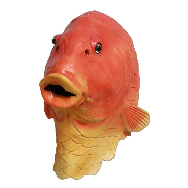 Drôle de tête de poisson Masque Creepy animal Halloween Costume Théâtre Prop Nouveauté Latex Goldfish Masque Livraison gratuite
