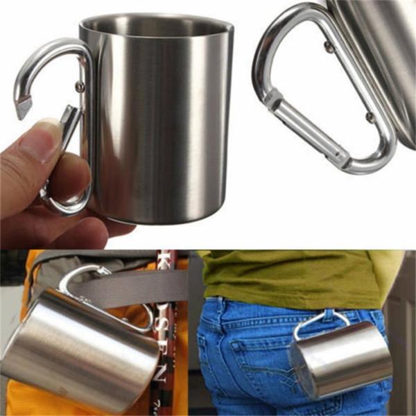 Taza que acampa del acero inoxidable 220ml taza de café del té del agua de la pared doble taza al aire libre del viaje del viaje con la manija del gancho del mosquetón