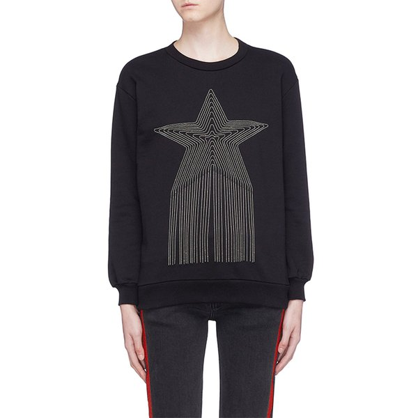 Brand Designer Women Wool Sweaters 2018 Autumn Winter Runway Style Star Tassel Black Knitted Pullovers Loose Oversized Jumpers Top