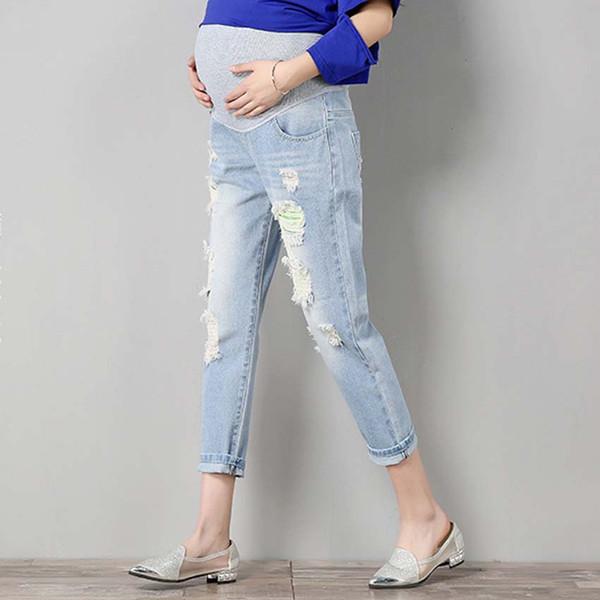 Cintura Elástica Jeans Gravidez Grávida Roupas 2018 Calças de Maternidade de Verão Gravidez Jeans Calças para Mulheres Grávidas