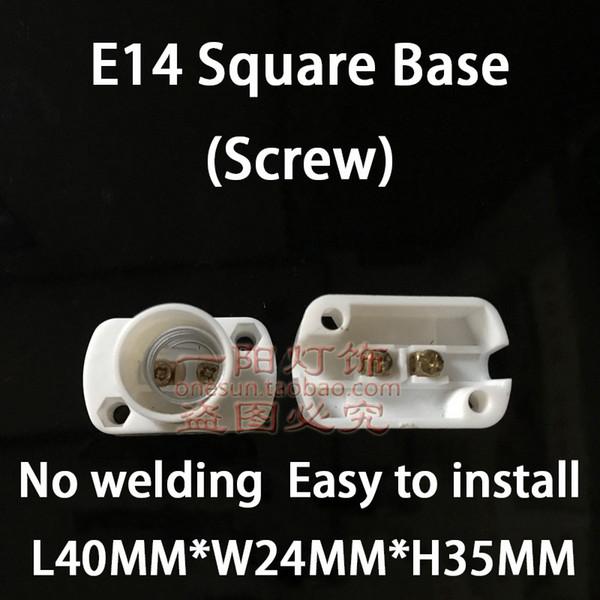 E14 White Square Base (Screw)