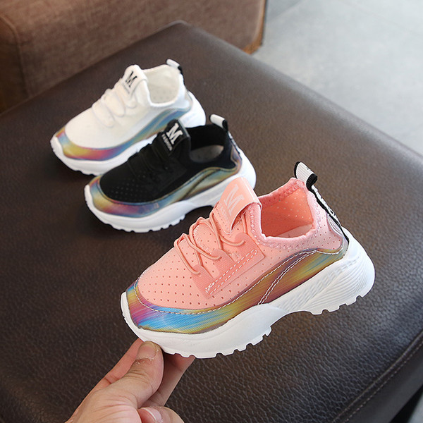 Wholesale fashion breathable sneakers shoes children autumn stretch fabric baby toddler shoes kids change color sneaker shoes boy girl