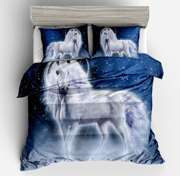 Kids 3D Horse Duvet cover Bedding set King Queen Full(1 Duvet Cover + 2 Pillowcases)/Twin Size(1 Duvet Cover + 1 Pillowcase)(no Comforter)