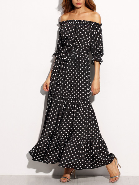 2018 Polka Dot Bardot Neckline Tie Waist Dress Off the Shoulder Three Quarter Length Sleeve A Line Belted Maxi Dress