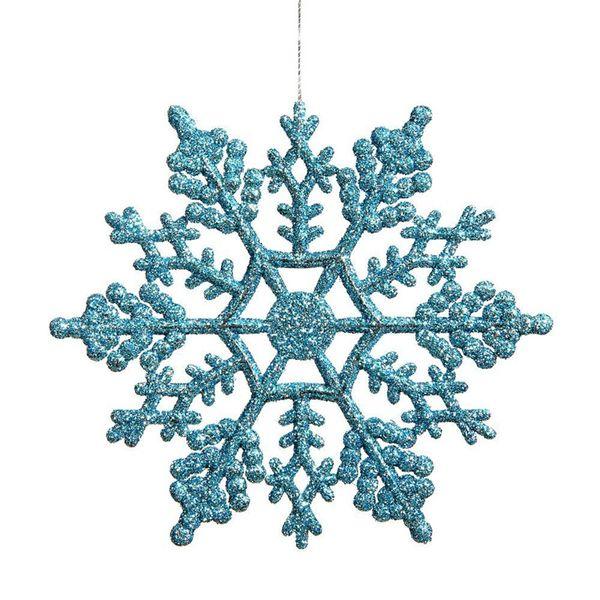 Turquoise Glitter Snowflake Christmas Ornaments Outdoor Hanging Decoration Decorazione natalizia Decorazioni per la casa Confezione da 24 colori