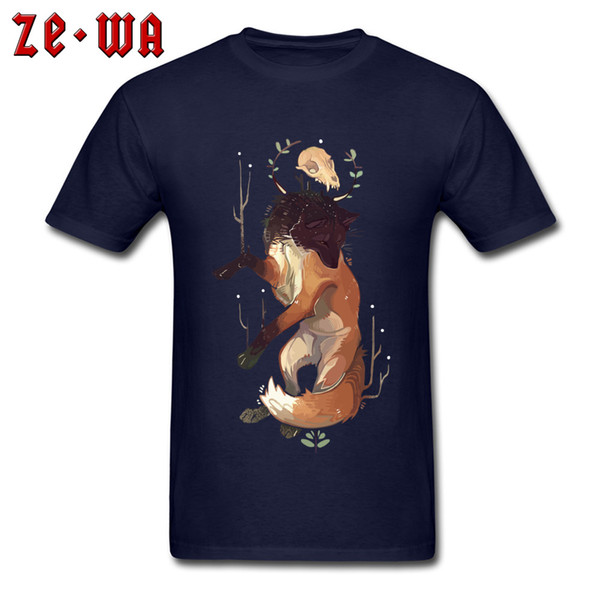 Tops Tees New Design Men Tshirt Fox God T Shirts Skull Print Clothes Anime T-shirt Cotton Navy Blue Casual Clothes Oversized