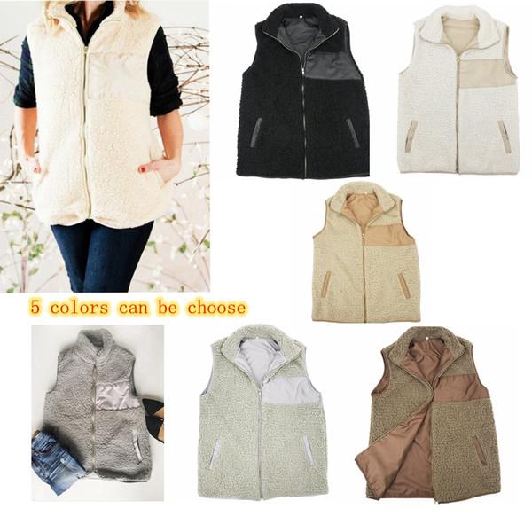 5 cores Inverno Mulheres Quentes Sherpa Vest Gilrs Casaco Casuais Plus Size Sem Mangas Zip Up Jacket com Poclet Outwear Top Roupas MMA613 30