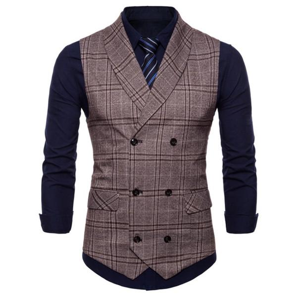 Braun Zweireiher Weste Anzug Herren Westen Gestreift Slim Fit Weste British Vintage Blazer Ärmellose Jacke M-XXXL