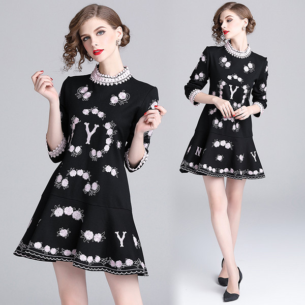 New heavy duty embroidered women's dress,Temperament collar collar lace stitching embroidery