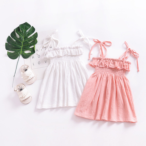 2018 Spaghetti strap Dresses for baby girl Beach dress Sundress Ruffles Pure Cotton Pink White 1T 2T 3T 4T Cheap wholesale kids clothing