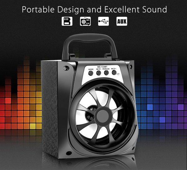 MS-133BT Portable Speaker Best Promotion Black High Power Output 95dB 3.5mm Audio Interface FM Wireless Bluetooth Speaker