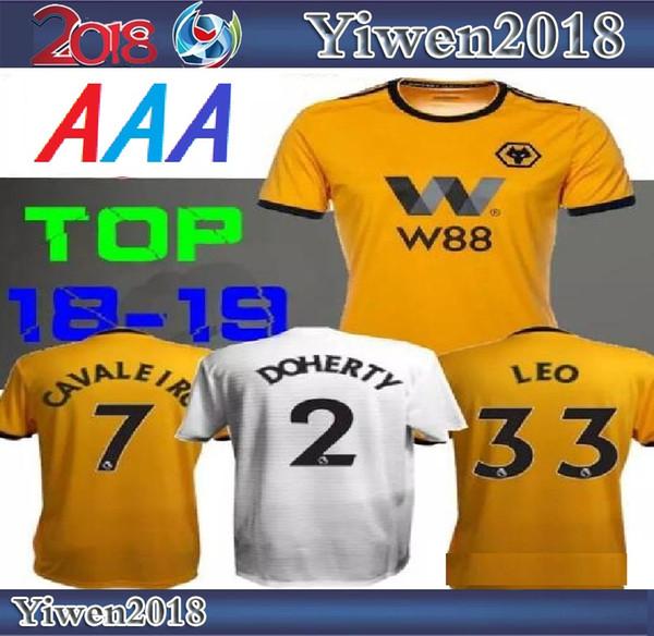 d77e6031c7c 18 19 Wolverhampton Wanderers soccer jersey home yellow Jota away white leo  2018 2019 Cavaleiro costa