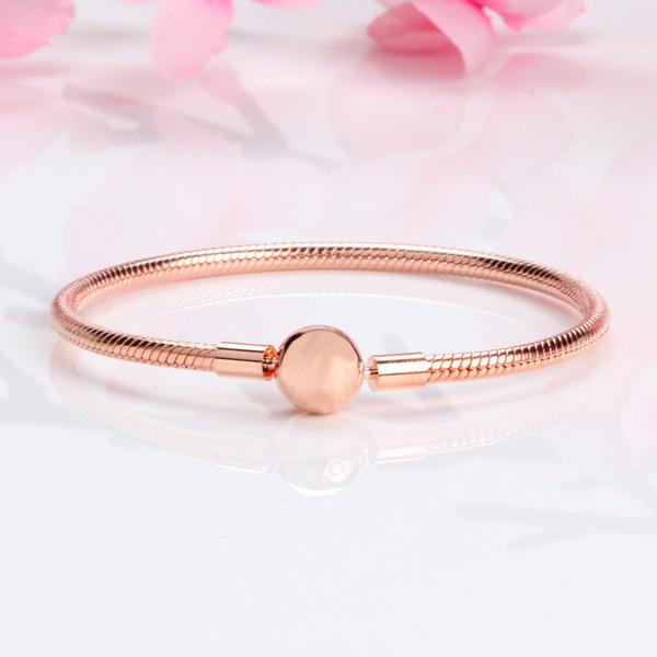 Belle donne in oro rosa 18 carati 3 millimetri braccialetto a catena serpente adattarsi Pandora argento Charms europeo perline braccialetto fai da te gioielli fare 10pcs / lot