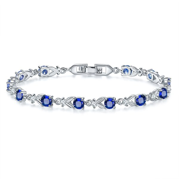 925 Sterling Silver Jewelry Blue Zircon White CZ Chain & Link Bracelets For Women Free Gifts Box&Free Shipping