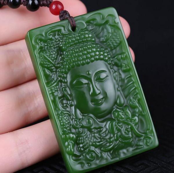 Natürliche Xinjiang Hetian Jaspis Anhänger Spinat Green Buddha Kopf Wünsche alles, was hängende Jade Halskette
