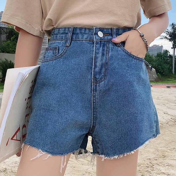 Nouvelle version coréenne de la jambe large sauvage Hot Pants taille haute était mince style coréen foncé lâche étudiant Denim Shorts Femme
