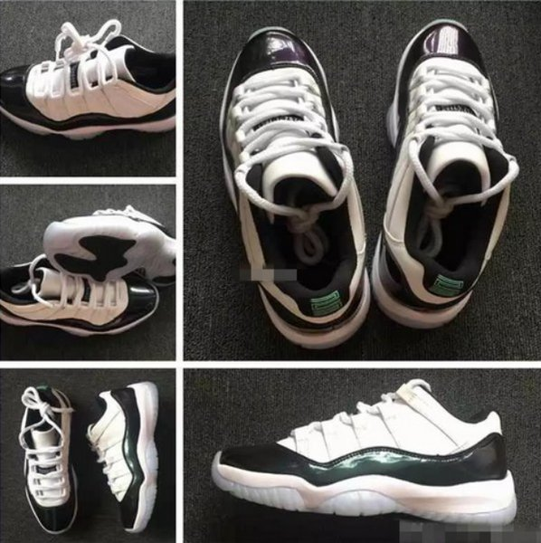 2018 New 11 Low Emerald Green Black White Basketball Shoes For Men 11s Barons Sports Sneakers High Quality Basket Ball Shoe Size 7-13