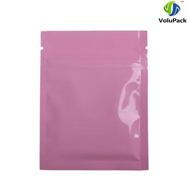 Custom Logo 7.5x10cm (3x4in) Tear Notch Aluminum Foil Plastic Flat Ziplock Package Bags Glossy Pink Zip Lock Bag Thick