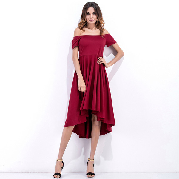Summer dress 2019 foreign trade women's clothing fashion in Europe and America brought before a word that wipe a bosom short after long irre
