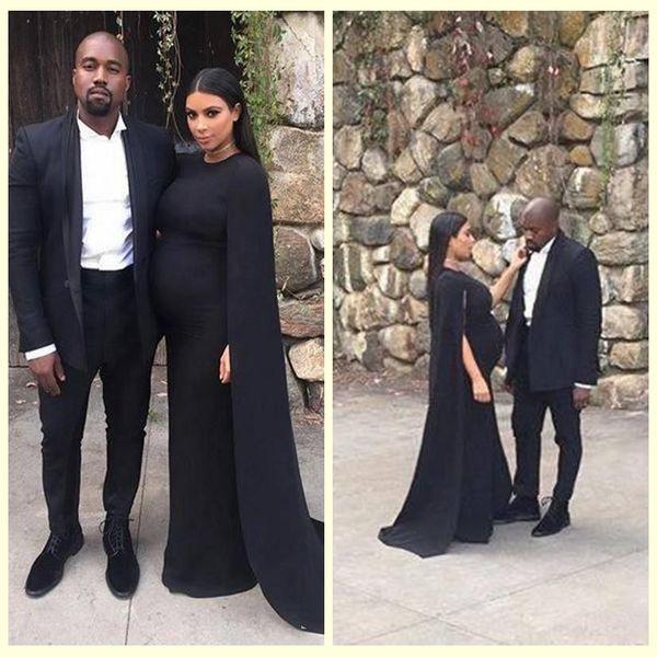 01336e9120e47 2018 Noble Black Kim Kardashian Pregnant Prom Dresses With Long Shawl Floor  Length Special Occassion Dress