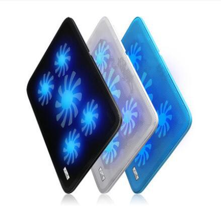 Laptop Cooler Cooling Pad 5 Quite cooling Fans Computer Laptop Cooler CPU Cooler Aluminum Cooling Pad Notebook stand Fixture for Notebook