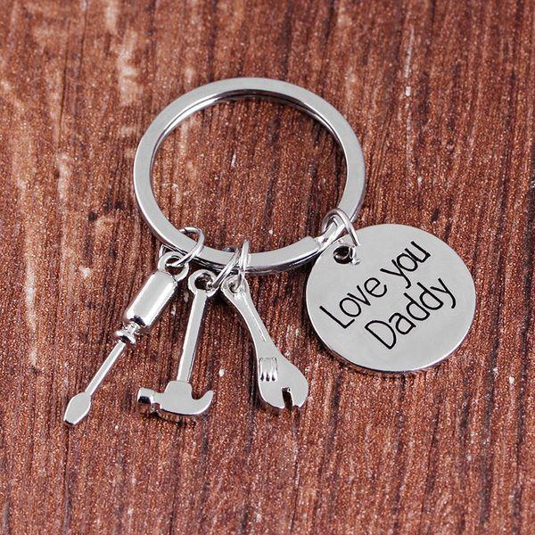 top popular Zinc Alloy Luxury Keychain For Father Day Love You Daddy Key Chain Hammer Screwdriver Wrench Charms Keys Buckle Sturdy 3 6xd VB 2019
