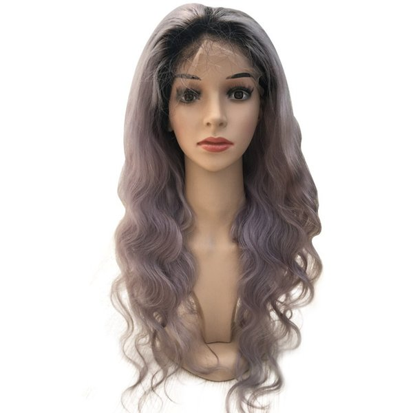 New Wavy Ombre Grey Human Hair Silk Base Lace Front Wig Glueless Ombre lace Wig for woman
