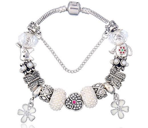 925 Sterling Silver Bead Charm White Murano Glass Beads Butterfly Flower Pendant Fits European Charms Bracelets Safety Chain Jewelry DIY