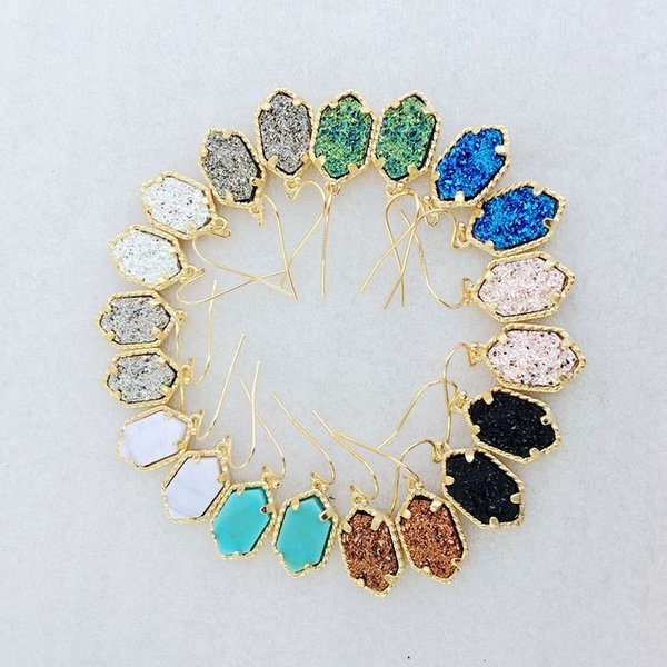 Hot Sale Natural Stone Resin Gold Plated Hexagon Druzy Drusy Dangle Earrings Geometry Stone Earrings 10 Colors Jewelry Gift For Women H638R