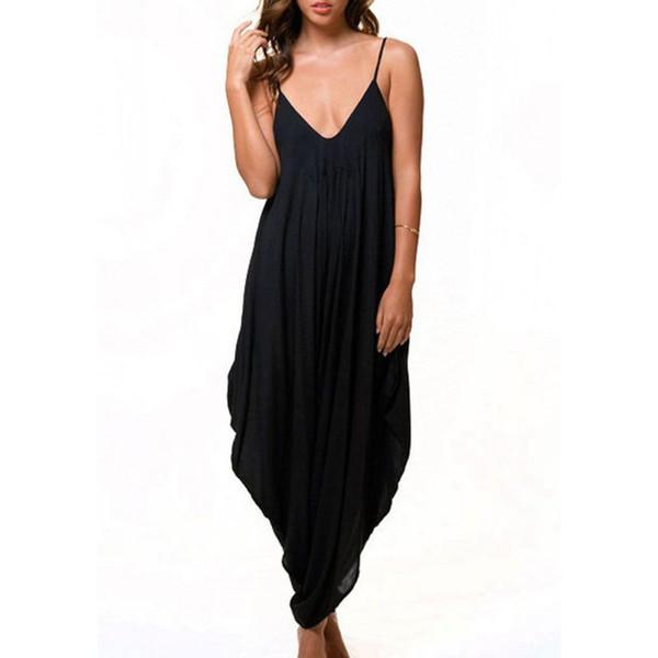 Women Jumpsuit Solid Girl V Neck Loose Baggy Fit Summer/Beach/Party Jumpsuit Romper Harem Suits Tracksuit For Women