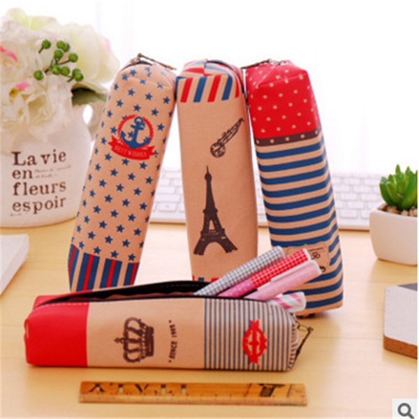 Creative crown canvas bag Korea simple Vintage British tower and large capacity pencil stationery bag Stationery office supplies