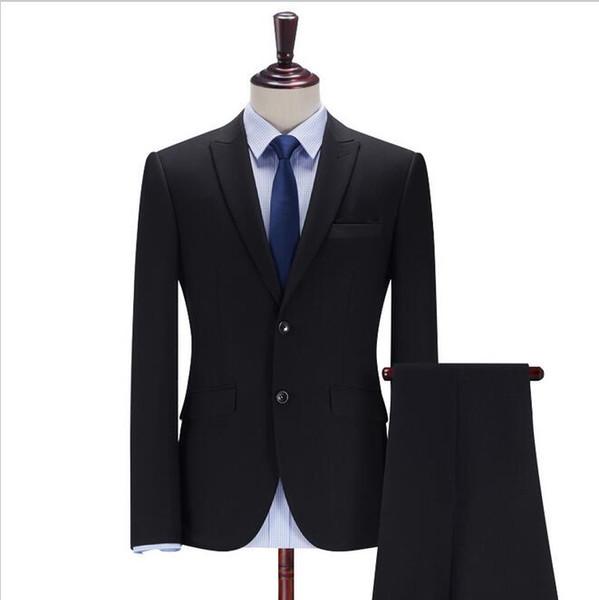 Custom black men's suit two-piece suit (coat + pants) men's gun collar collar two button suit wedding groom groomsmen dress