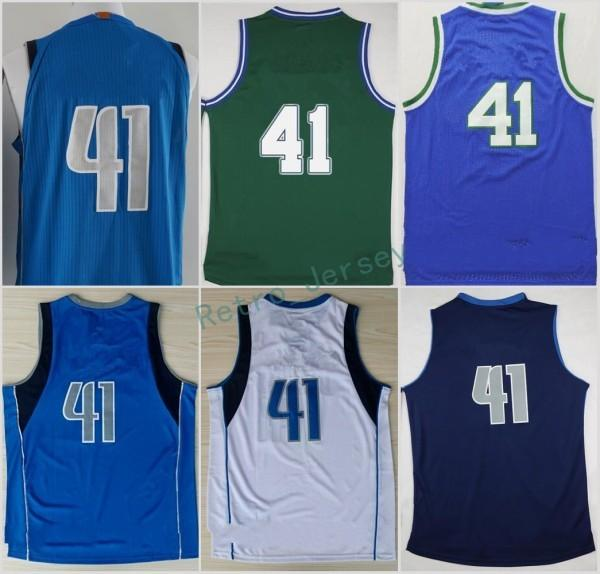 the best attitude f0b2b 736a4 2017 2018 Men 41 Dirk Nowitzki Basketball Jerseys Wholesale Throwback Dirk  Nowitzki Jersey For Sport Fans Green Blue White Embroidery From ...