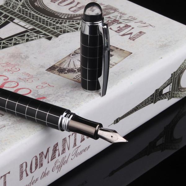 F 0.5mm metallo Stilografica alta Classica Iraurita inchiostro calligrafia pennino Golden Clip di lusso nero vintage Caneta Office school 1G815