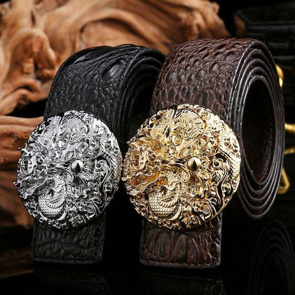 Fashion Mens Belts High Quality Crocodile Real Leather Waistband Belt Brand Designer Dragon Head Buckle Popular Male Jeans Belt Men Girdle